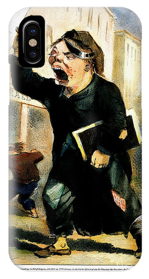 1847 IPhone X Case featuring the photograph Newsboy Shouting, 1847 by Granger