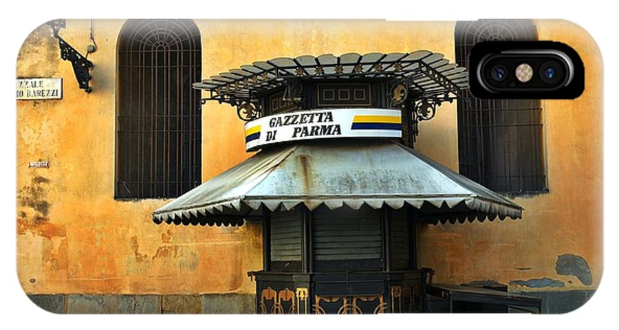Architecture IPhone X Case featuring the photograph Newsstand - Parma - Italy by Silvia Ganora