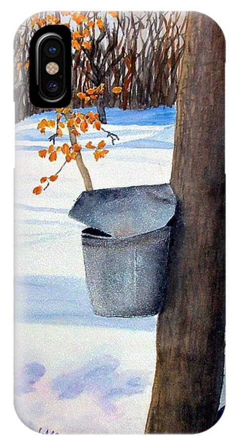 Sap Bucket. Maple Sugaring IPhone X Case featuring the painting Nh Goldmine by Sharon E Allen