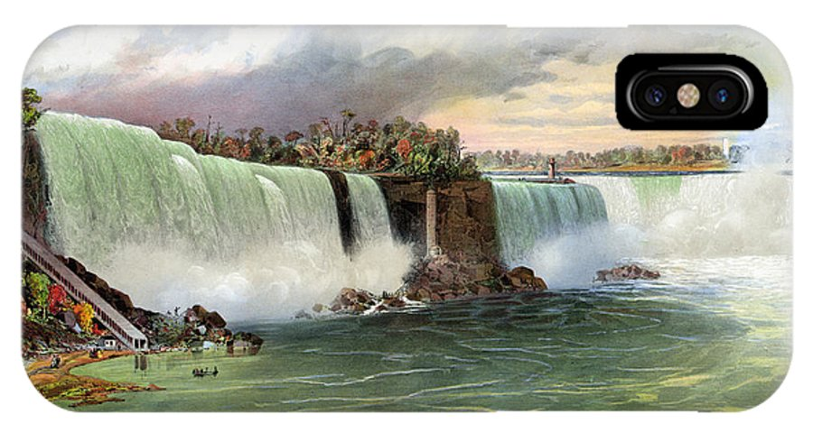 1840 IPhone X Case featuring the photograph Niagara Falls, C1840 by Granger