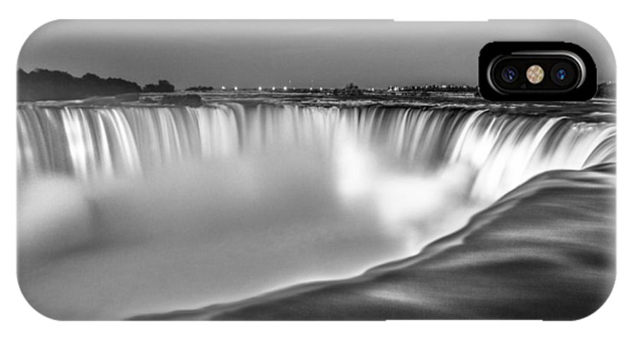 Niagara Falls IPhone X Case featuring the photograph Niagara Falls In Black And White by John McGraw