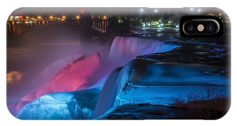 Niagara Falls Light Show IPhone X Case featuring the photograph Niagara Falls Light Show by Mark Papke