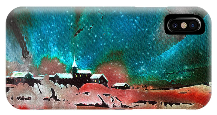 Watercolour Landscape IPhone X Case featuring the painting Nichtfall 14 by Miki De Goodaboom