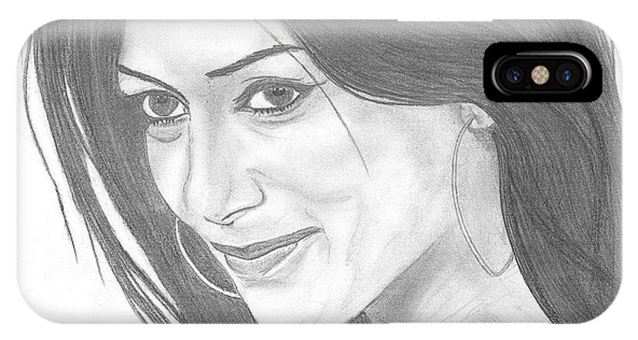Nicole IPhone X / XS Case featuring the drawing Nicole Scherzinger by Branislav Djuric