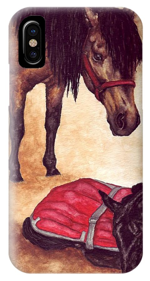 Horse IPhone X Case featuring the painting Nifty And Hannah by Kristen Wesch