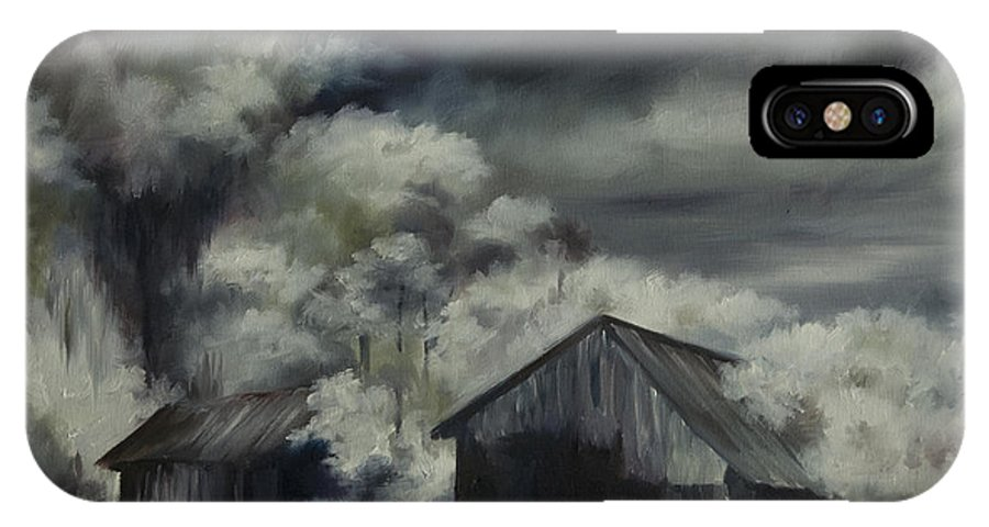 Motel; Route 66; Desert; Abandoned; Delapidated; Lost; Highway; Route 66; Road; Vacancy; Run-down; Building; Old Signage; Nastalgia; Vintage; James Christopher Hill; Jameshillgallery.com; Foliage; Sky; Realism; Oils; Barn IPhone X Case featuring the painting Night Barn by James Christopher Hill