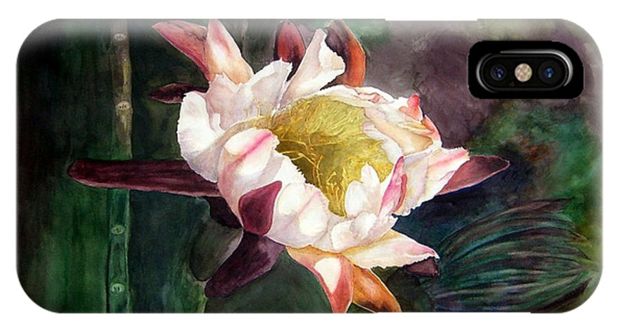 Night Bloom Cereus IPhone X Case featuring the painting Night Blooming Cereus by Sharon Mick