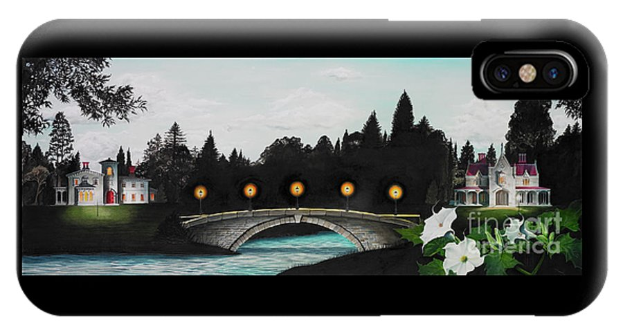 Architecture IPhone X Case featuring the painting Night Bridge by Melissa A Benson