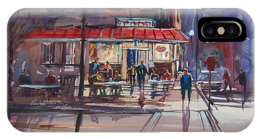 Street Scene IPhone X Case featuring the painting Night Cafe by Ryan Radke