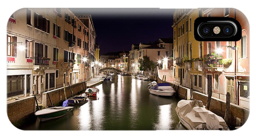 Venezia IPhone X Case featuring the photograph Night Canal by Marco Missiaja