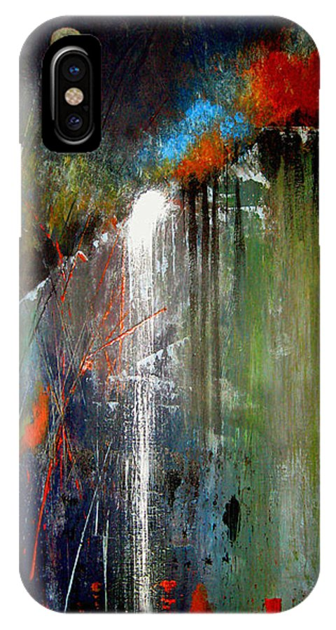 Abstract IPhone X / XS Case featuring the painting Night Falls by Ruth Palmer