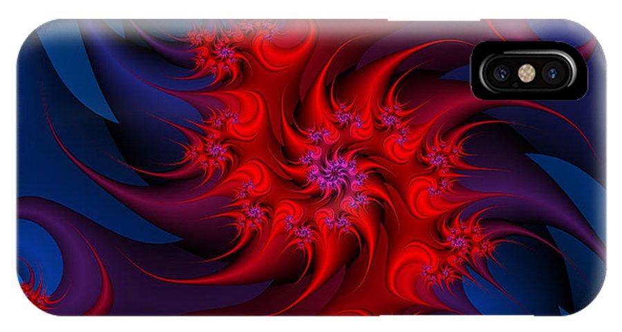 Fractal IPhone X Case featuring the digital art Night Fire by Jutta Maria Pusl