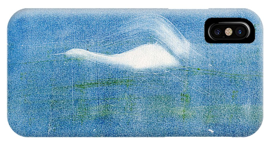 A Crane Flying At Night-original Monotype Print IPhone X Case featuring the painting Night Flight by Mui-Joo Wee