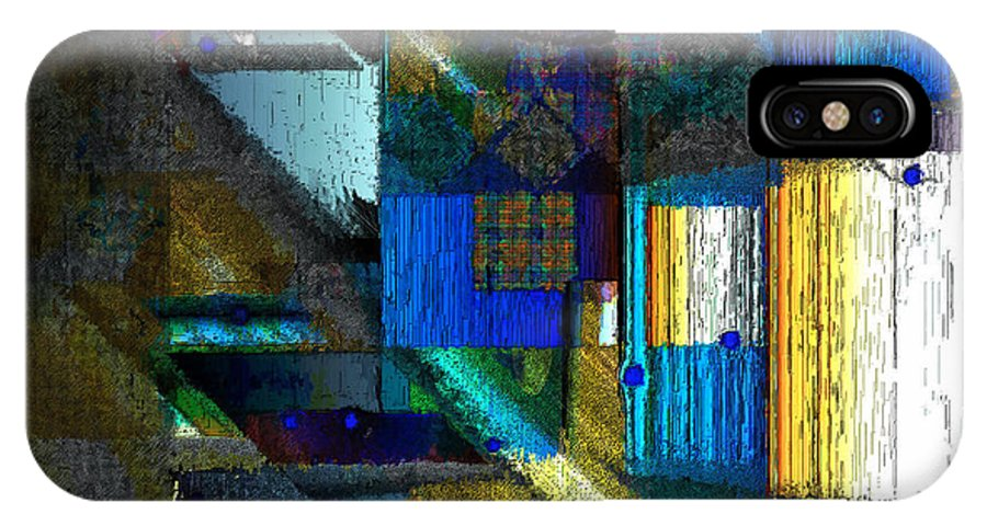 Digital IPhone X Case featuring the digital art Night in the City by Ilona Burchard