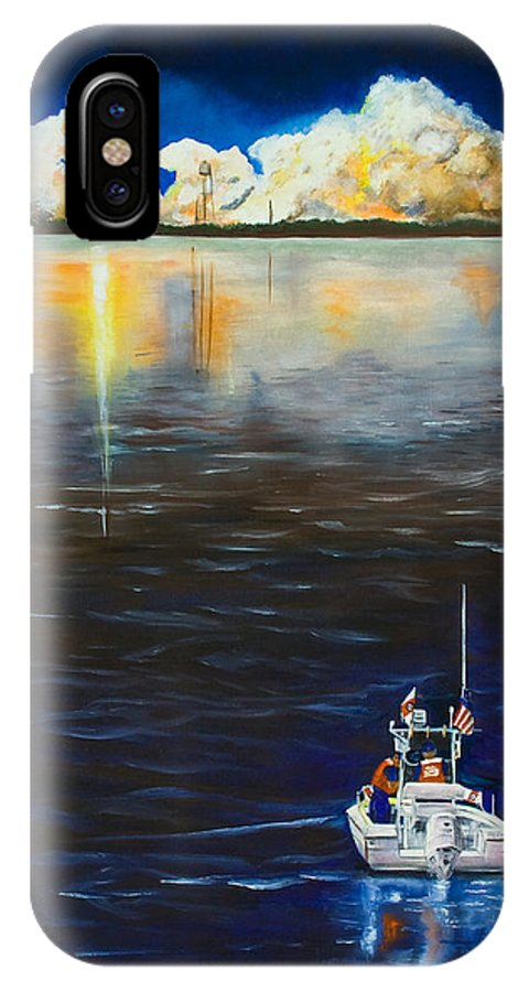 Coast Guard IPhone X Case featuring the painting Night Launch by Dorothy Riley