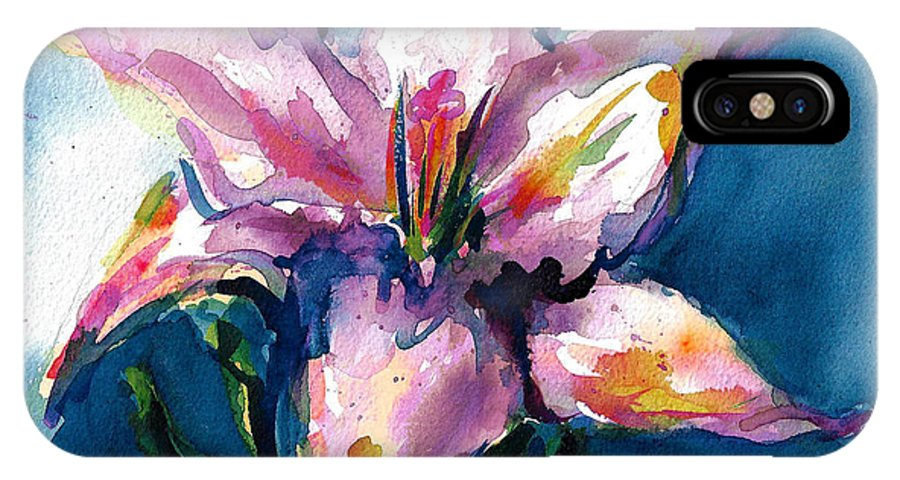 Pink Lily IPhone X Case featuring the painting Night Lily by Jacki Kellum