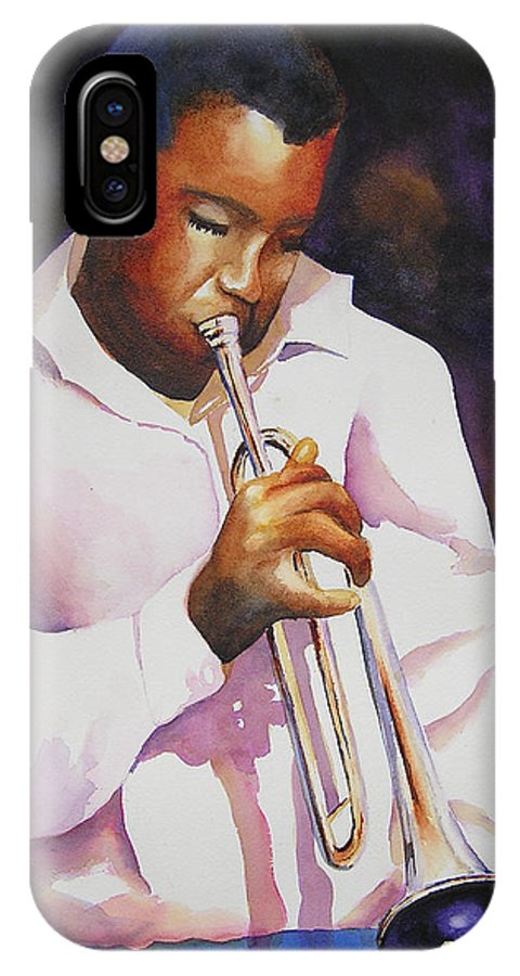 Trumpet IPhone X Case featuring the painting Night Music by Karen Stark