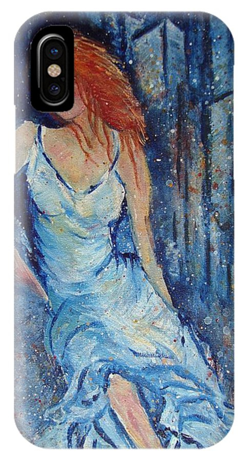 Figure IPhone X Case featuring the painting Night On The Town by Robin Monroe