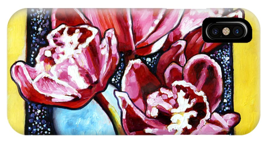 Red Orchids IPhone X Case featuring the painting Night Orchids by John Lautermilch