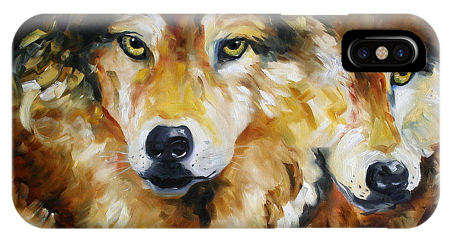 Wolves IPhone Case featuring the painting Night Power by Laurie Pace