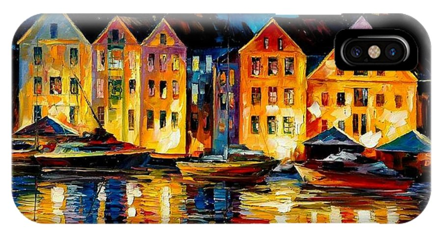 City IPhone Case featuring the painting Night Resting Original Oil Painting by Leonid Afremov