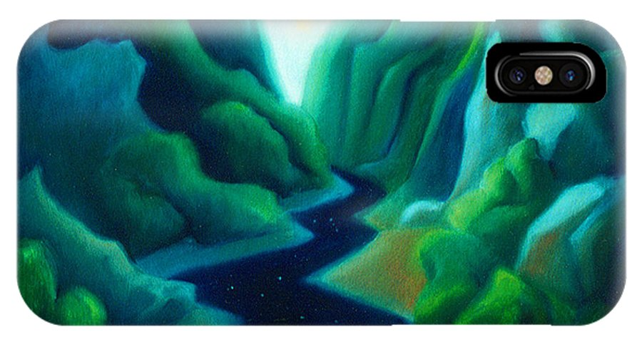 Dreams IPhone X Case featuring the painting Night River by Angela Treat Lyon