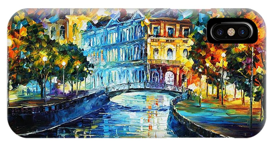Afremov IPhone X Case featuring the painting Night River by Leonid Afremov