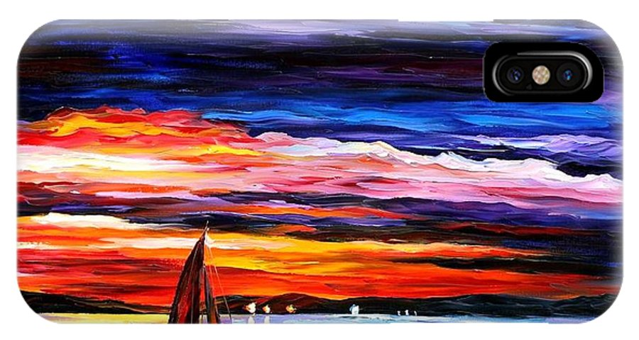 Seascape IPhone X Case featuring the painting Night Sea by Leonid Afremov
