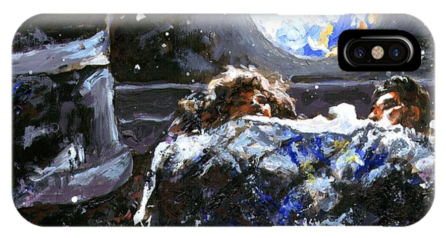 Space IPhone X / XS Case featuring the painting Night Time by Alexandra Cook