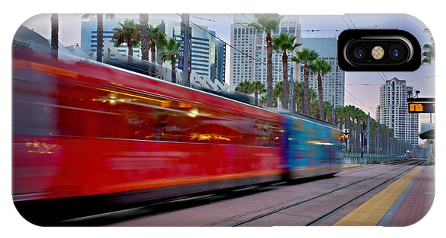 San Diego Trolley IPhone X Case featuring the photograph Night Train by See My Photos