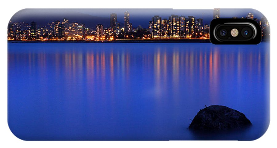 Ancouver IPhone X Case featuring the photograph Night Vancouver Cityscape by Pierre Leclerc Photography