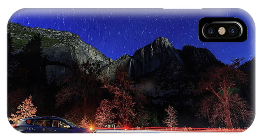 Nps IPhone X Case featuring the photograph Night View Of The Upper And Lower Yosemite Fall by Chon Kit Leong