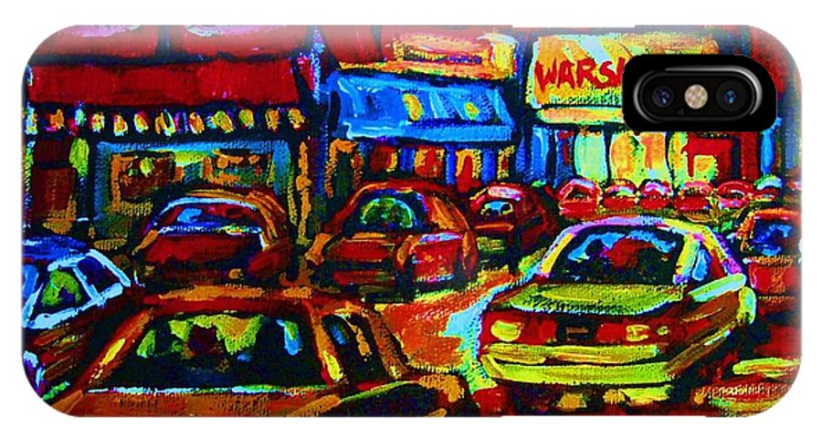 Schwartzs And Warshaws IPhone X Case featuring the painting Nightlights On Main Street by Carole Spandau