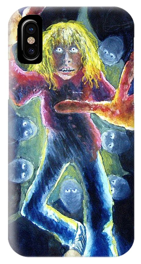Nightmare IPhone X Case featuring the painting Nightmare by Nancy Mueller