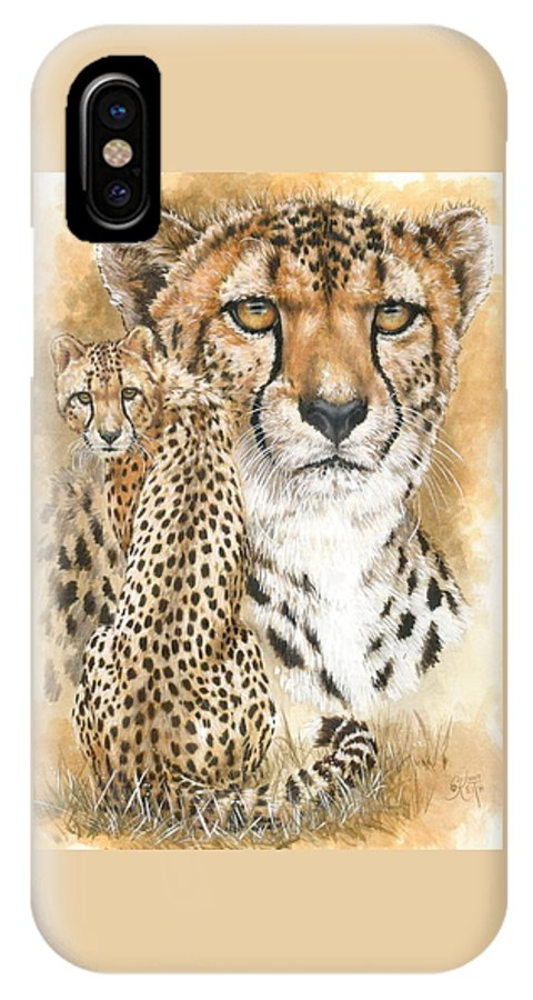Cheetah IPhone X Case featuring the mixed media Nimble by Barbara Keith