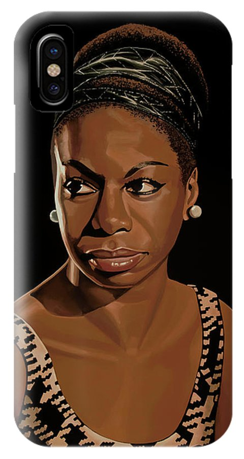 Nina Simone IPhone X Case featuring the painting Nina Simone Painting 2 by Paul Meijering