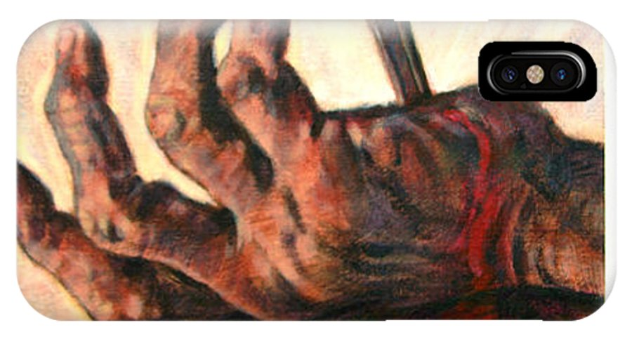 Christ IPhone Case featuring the painting No Greater Love by John Lautermilch