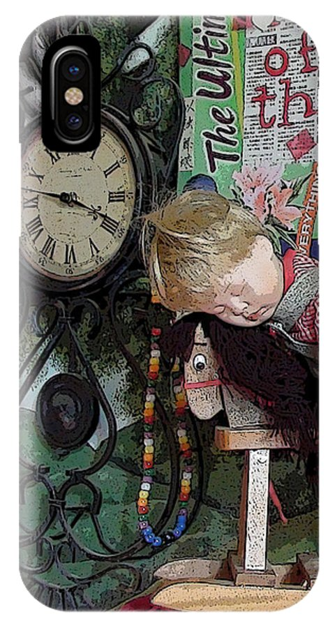Boy Boys Figure Horse Horses Rocking Horse Clock Clocks Time Tick Tock Lamp Lamps Light Bulb Light Bulbs Time Still Life Collage Bead Beads Portrait IPhone X Case featuring the photograph No Nap For Time by Grace Rose