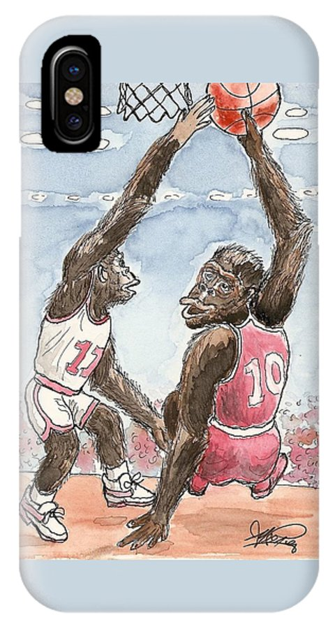 Basketbal IPhone Case featuring the painting No No No by George I Perez