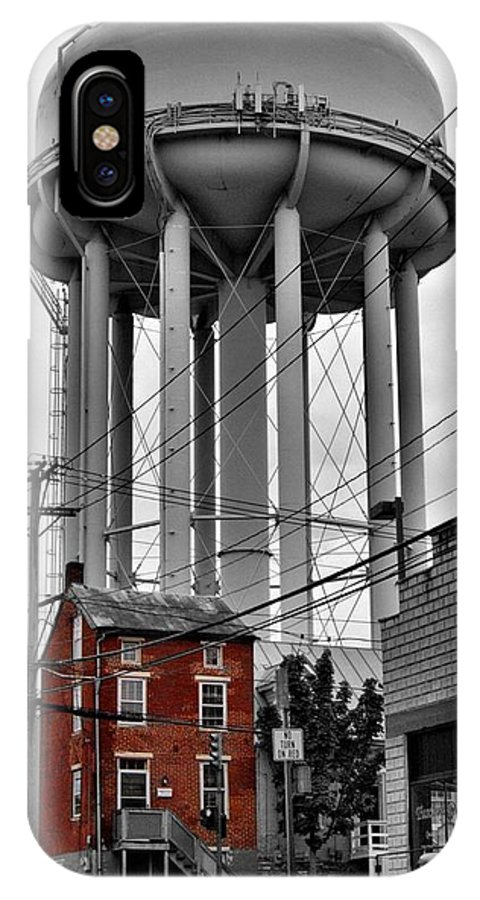 Water Tower IPhone X Case featuring the photograph No Turn On Red, Frederick, Maryland, 2015 by Wayne Higgs