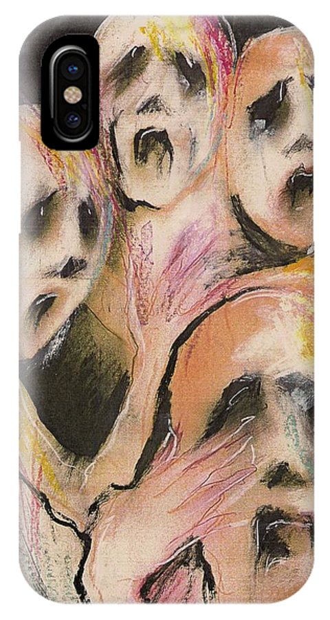 War Cry Tears Horror Fear Darkness IPhone Case featuring the mixed media No Words by Veronica Jackson