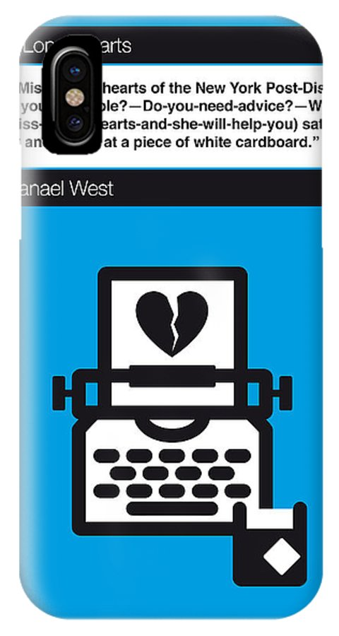 Nathanael IPhone X Case featuring the digital art No011-my-miss Lonelyhearts-book-icon-poster by Chungkong Art