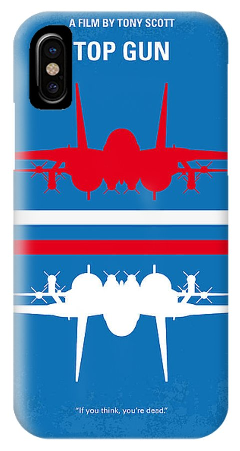 Top IPhone X Case featuring the digital art No128 My Top Gun Minimal Movie Poster by Chungkong Art