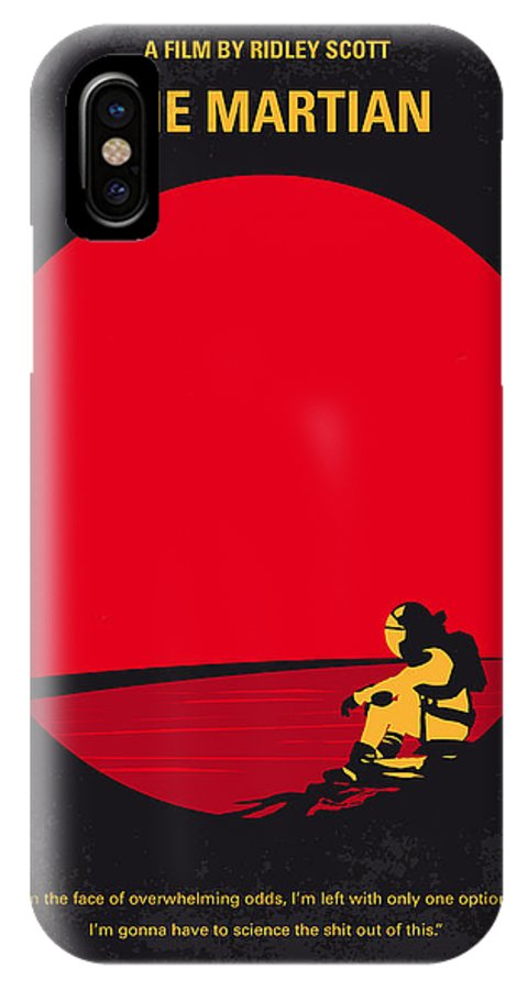 The IPhone X Case featuring the digital art No620 My The Martian Minimal Movie Poster by Chungkong Art