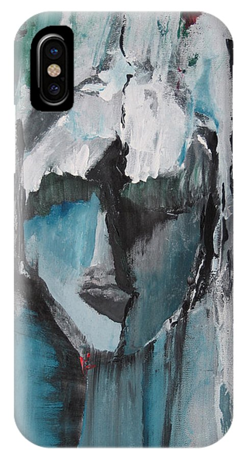 Abstract Acrylic Blue Darkestartist Nobody Portrait Darkest Artist Face IPhone X Case featuring the painting Nobody by Darkest Artist