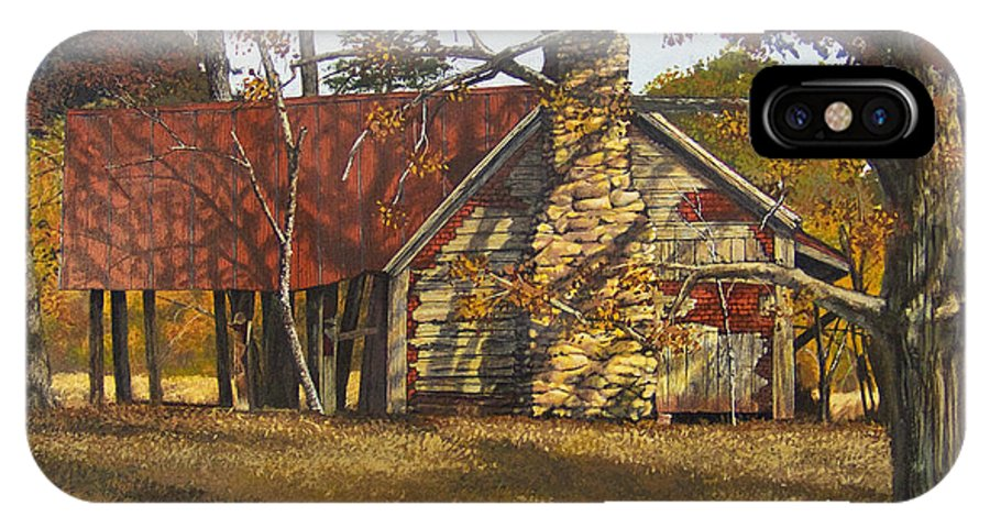 Landscape IPhone Case featuring the painting Nolan Corners Farmhouse by Peter Muzyka