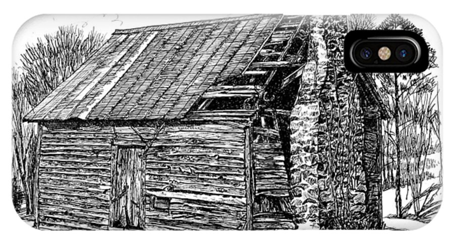 Landscape IPhone X Case featuring the drawing Nolan Corners Sharecropper's Shack by Peter Muzyka