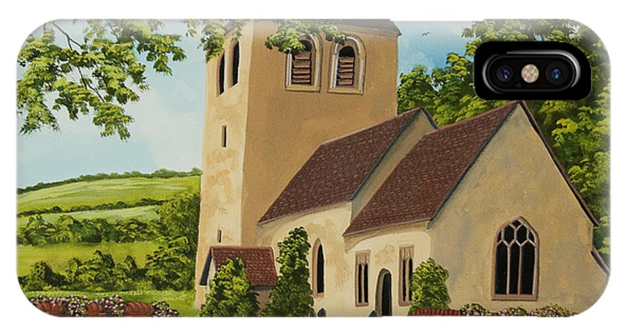 Church IPhone X Case featuring the painting Norman Church In Fingest by Charlotte Blanchard