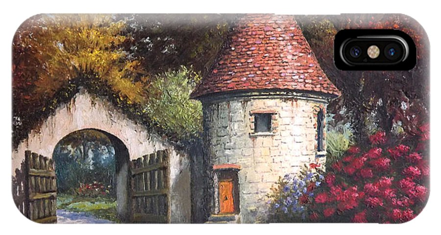 Landscape IPhone X Case featuring the painting Normandy Garden by Sean Conlon