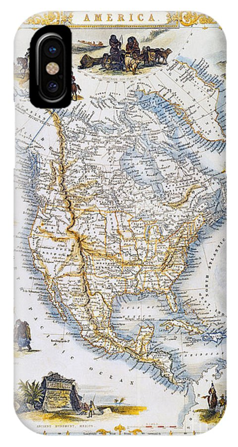 1851 IPhone X Case featuring the photograph North American Map, 1851 by Granger